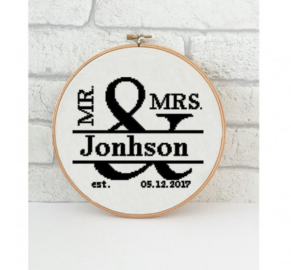 ampersand wedding cross stitch