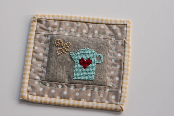 coffee cross stitch coaster