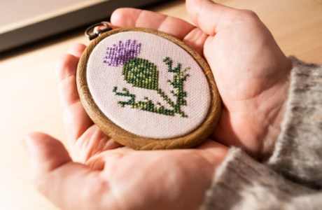 scottish thistle cross stitch