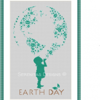 Earth Day Child Cross Stitch Pattern