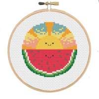 Watermelon Sunset Cross Stitch Pattern