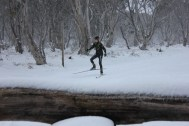 Skiing outside the house