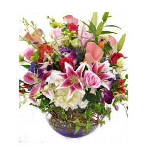 stargazer lily hydrangea roses