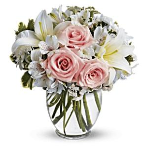 pink roses white lily vase arrangement