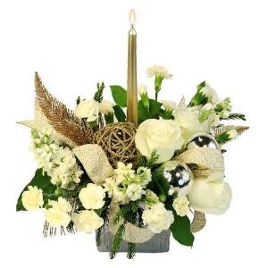 cornucopia centerpiece white roses christmas