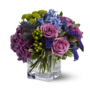 purple roses green buttons berries vase