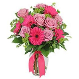 pink roses gerbera daisy vase arrangement