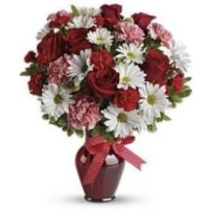 red roses white daisy red vase arrangement