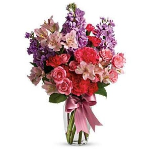 Purple pink flower vase arrangement