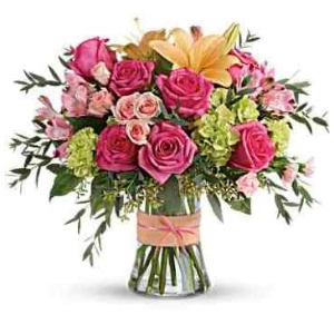flower arrangement lily roses