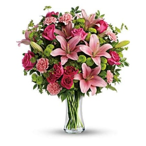 pink lily green buttons flower vase arrangement