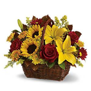 fall roses sunflowers basket flowers