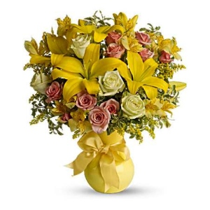 Yellow lily pink roses flowers vase