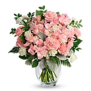 Pink vase flower arrangement