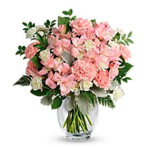 Pink vase flower arrangement