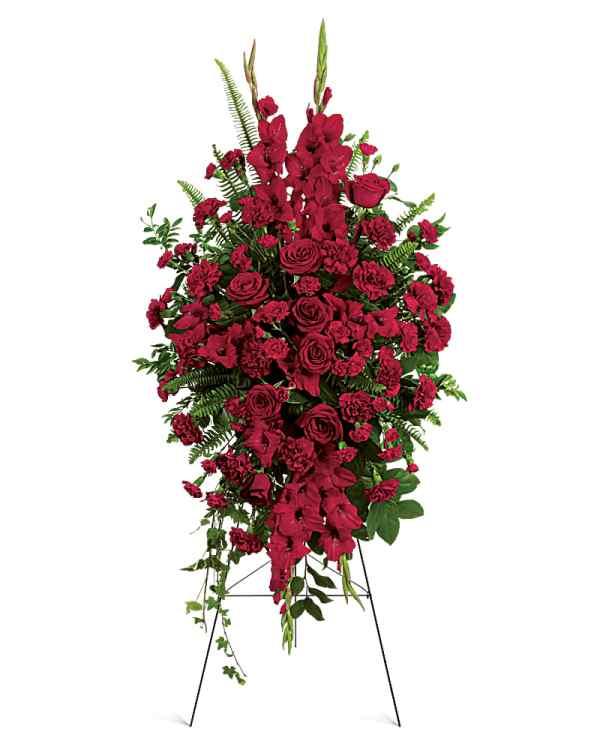 a deep red arrangement
