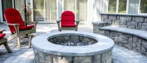 seat wall, fire pit, paver patio, stone, hardscaping