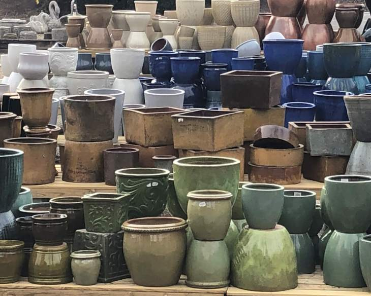 pottery, outdoor planters, containers