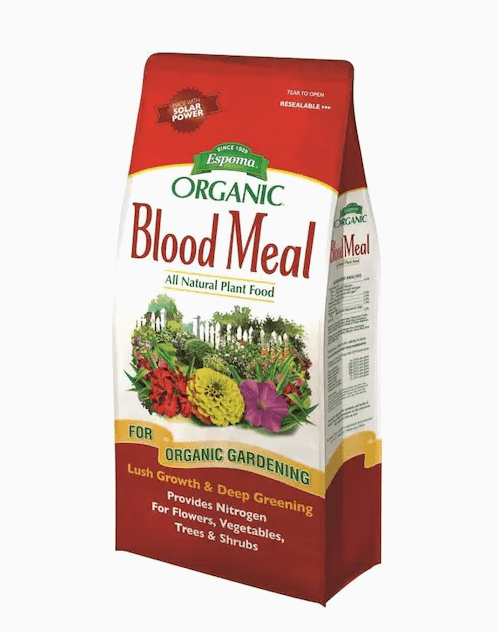 Blood Meal is a natural fertilizer that promotes healthy growth and deep green foliage