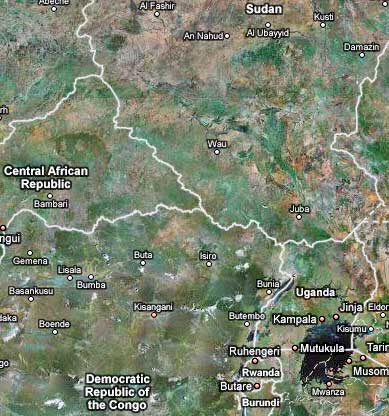 Uganda, from google maps, showing the border with Sudan and the DRC