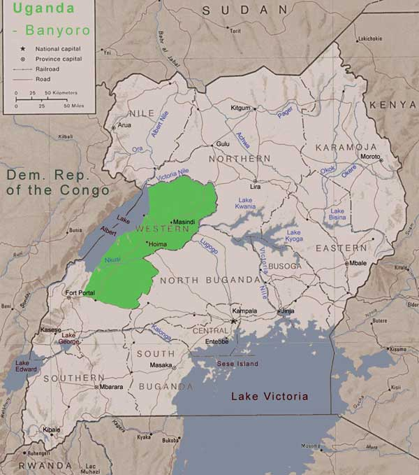 map of Uganda showing the Bunyoro kingdom in green