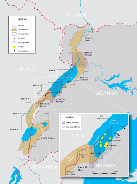 These are the oil blocks around Lake Albert, with Uganda on the east/right, and the DRC on the west/left.