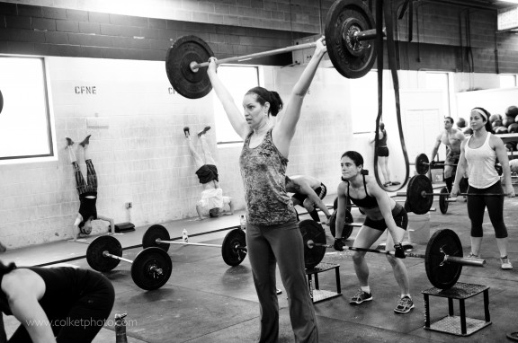 To finish the Power Snatch, elbows hips and knees need to be locked out at the top.