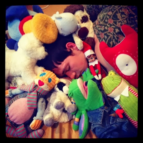 James sleeps with lots of stuffed animals. Nothing weird about that...