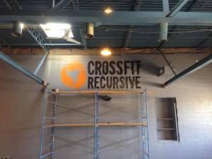 CrossFit Recursive logo on the wall!