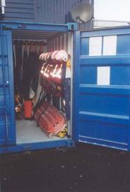 Another view inside showing lifejackets & helmets.