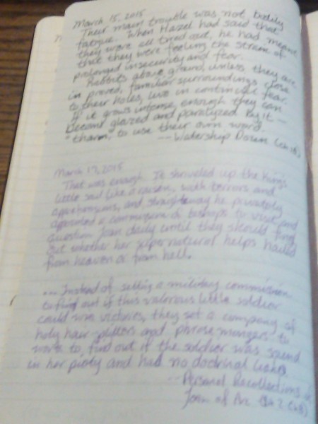 Quotes from Watership Down (Richard Adams) and Personal Recollections of Joan of Arc (Mark Twain).