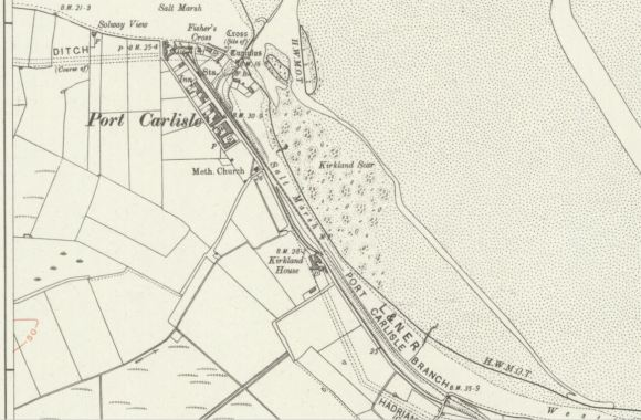 OS map showing canal & coaling wharf at port Carlisle