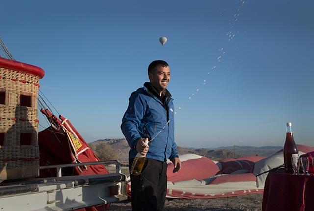 Balloon Pilot with Champaigne