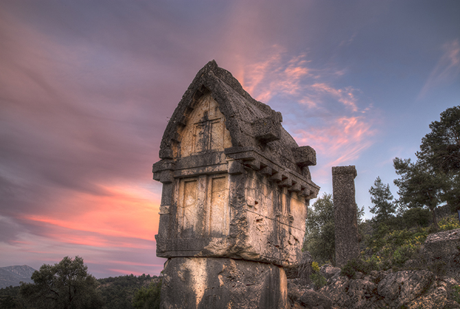 Lycian tomb at sunset CU S