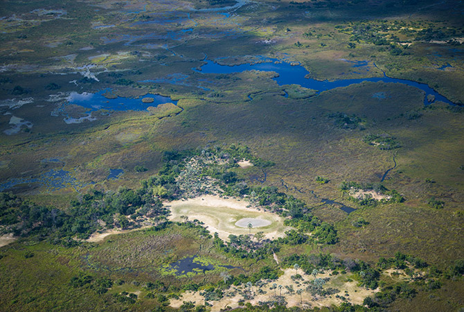 Aerial of Okavango wetlands