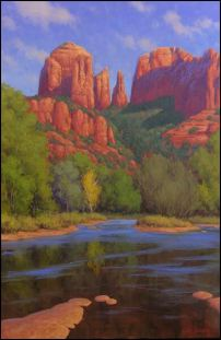 """Painting of Cathedral Rock in Sedona: """"Cathedral Morning"""" by Cody DeLong illustrates one of Sedona's scenic, sacred and vortex sites."""