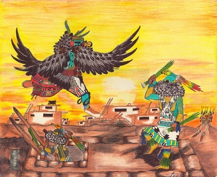 Eagle and Parrot Kachinas on roof of a Hopi kiva represents Kachinas which are spiritual essences