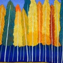 Fall colored feathers painting symbolizes Fall equinox programs, releasing the old and making way for new balance in ceremony and retreats.