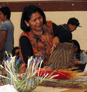 Dorlene Gashwesemoma, a traditional basket weaver worked on baskets all weekend and yet so warmly greeted everyone who came to her table. Very Hopi.