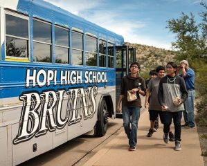 Hopi High School students arriving at V Bar V site in Verde Valley.