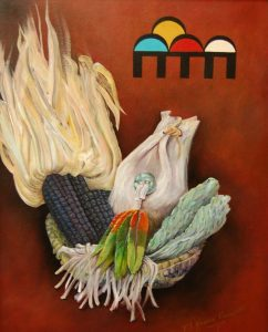 Painting by Filmer Kewanyama called Hopi Faith shows a woven basket with sacred blessing items such as corn, herbs and feathers and represents faith in the future.
