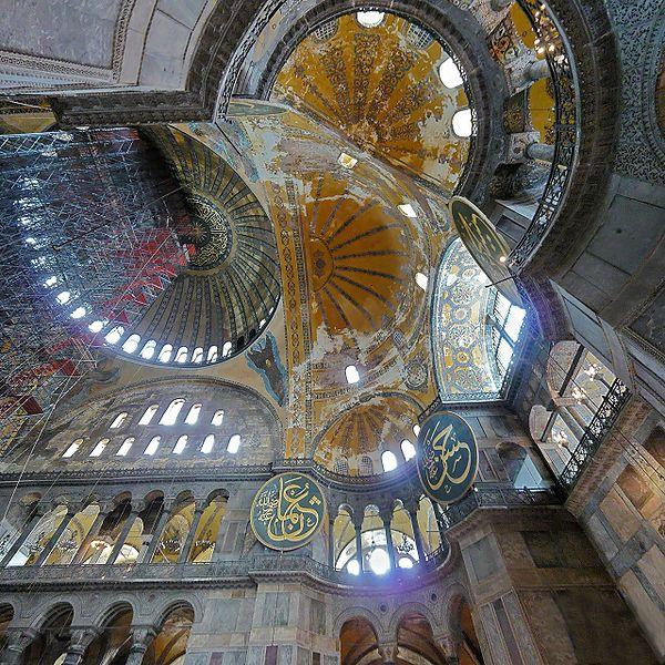 Interior of the Hagia Sophia in Constantinople. Mosaic VI-XII centuries.