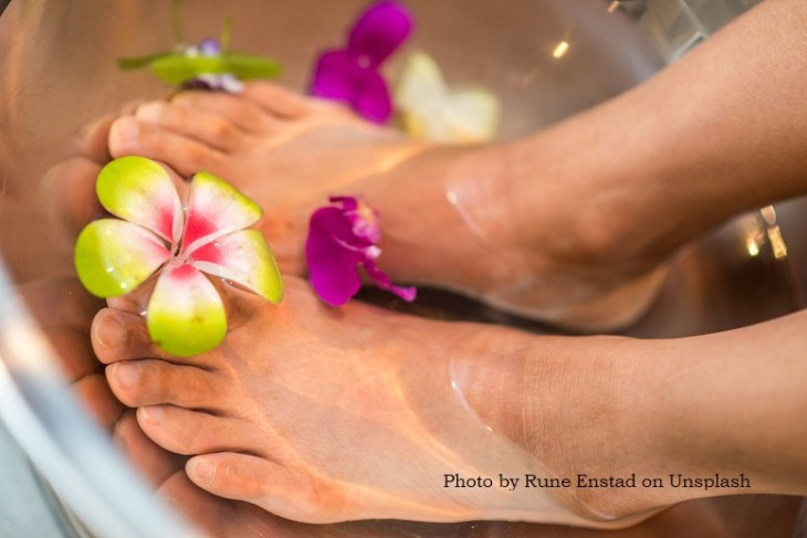 foot massages often start with a foot soak or bath.