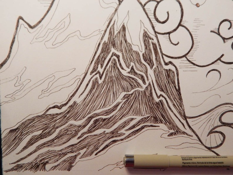 "Work in progress of mountains in ""Mountains""."
