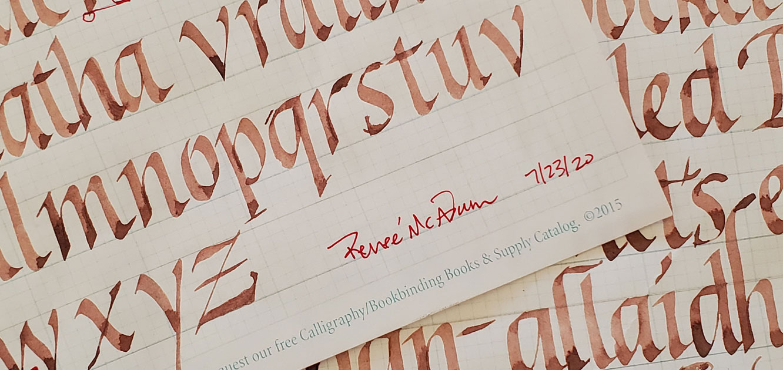 Italic Calligraphy Practice using guidelines