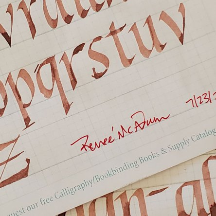 Italic Calligraphy Practice using guidelines