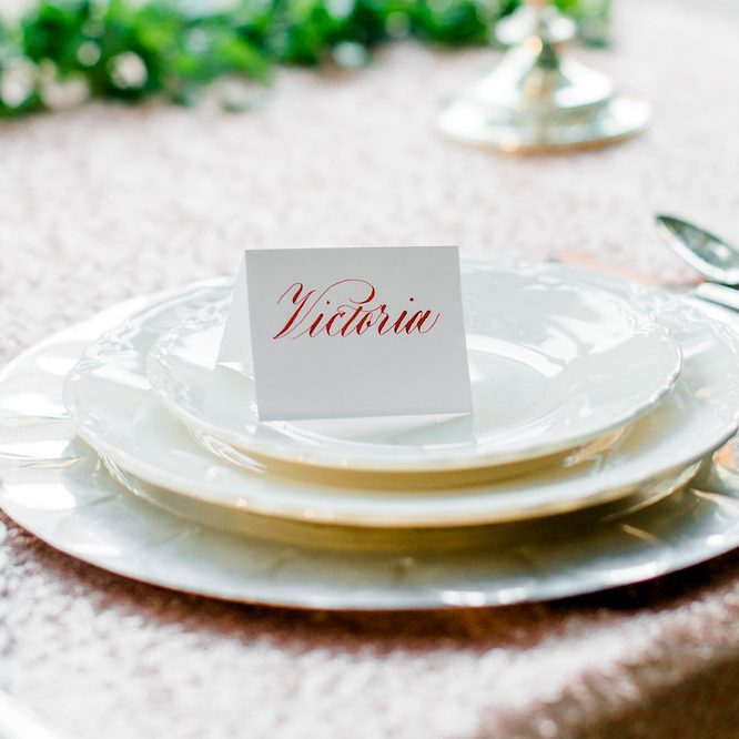 Placecard written by hand in calligraphy. Photo by Mina Hutchinson Photography