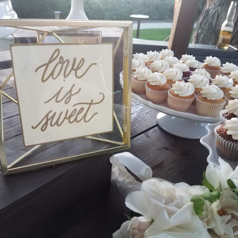 gold calligraphy wedding dessert sign