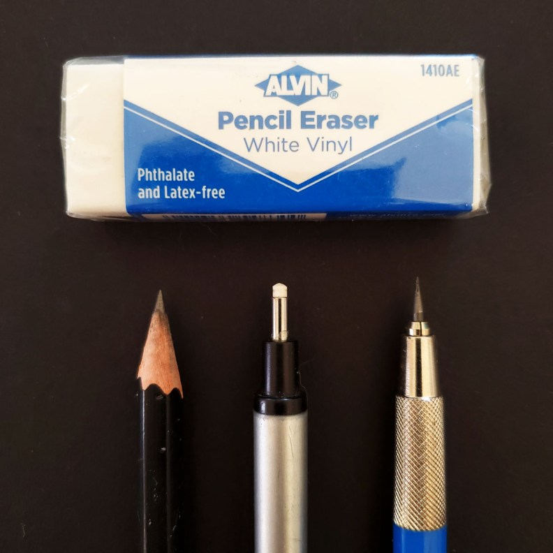 Pencils and Erasers for Calligraphy Planning and Practice