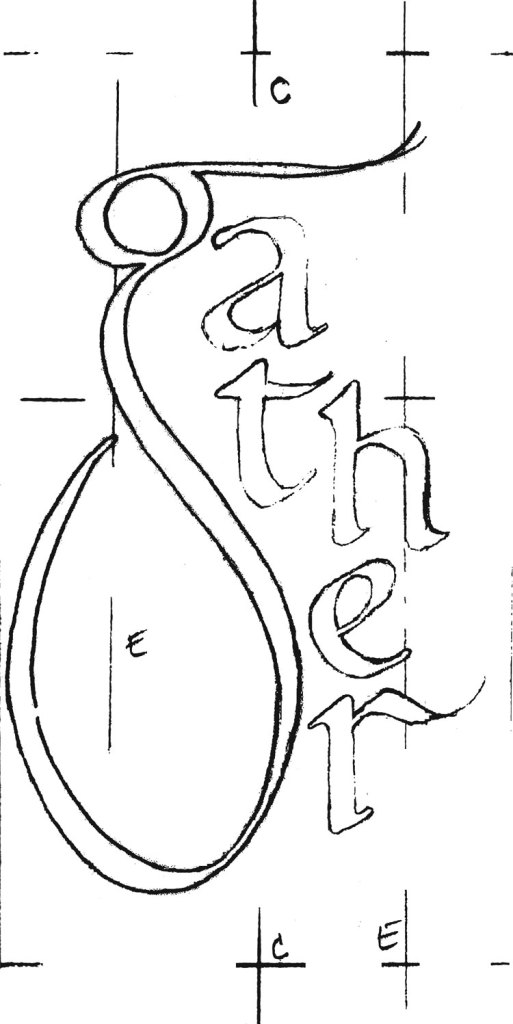 """The final sketch for my """"gather"""" calligraphy mural before I enlarged it for painting"""